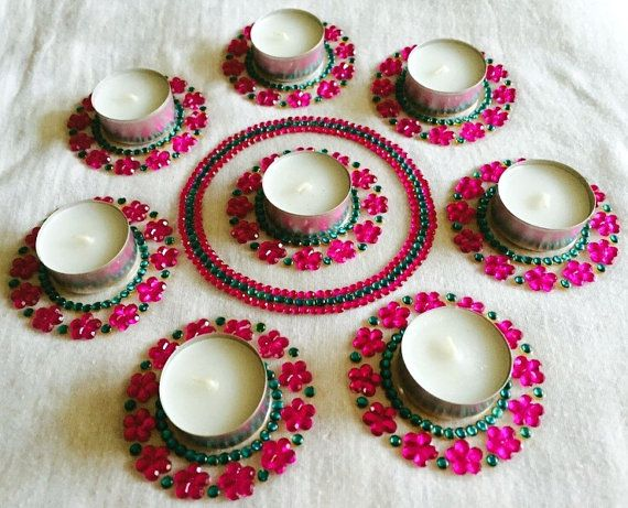 Diya with floral designs