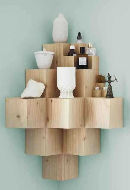 Corner Wood Cube Shelf