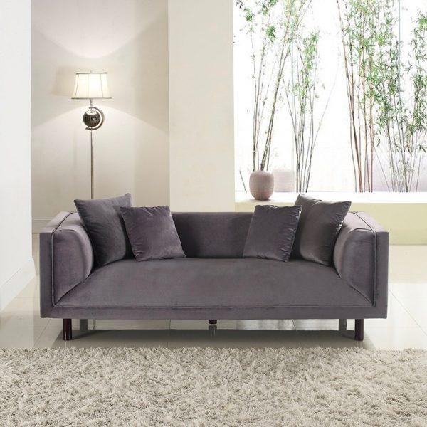 Modern Seat Grey Velvet Sofa